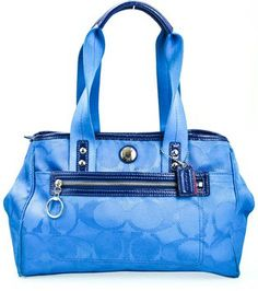 Coach Electric Nylon Patent Leather Large Signature C Hand Bright Blue Exterior With Silver Toned Pink Tote Bag $151
