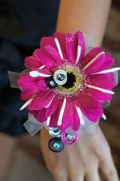 Gerbera Daisy Corsage for bride, bridal party/ mother of the bride and groom? Flower Corsage, Wrist Corsage, Prom Flowers, Wedding Flowers, Wedding Bouquets, Prom Corsage And Boutonniere, Boutonnieres, Homecoming Corsage, Prom Themes