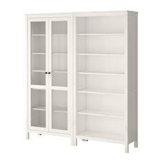 HEMNES Storage combination w/glass doors - white stain - IKEA