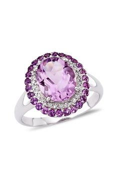 14K White Gold Amethyst & Alternating Diamond Halo Ring on HauteLook
