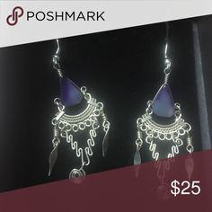 Silver/purple dangle earrings Silver/purple dangle earrings Jewelry Earrings