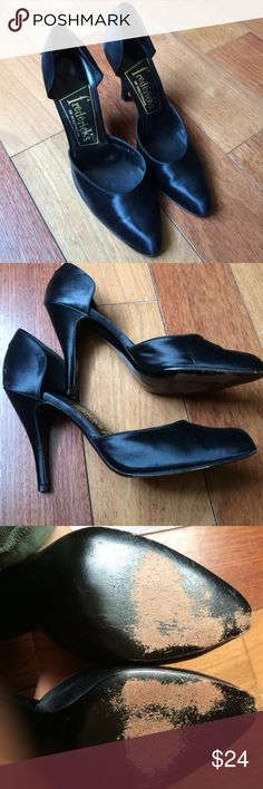 Vintage Fredericks of Hollywood Satin D'Orsay Heel Black satin side cut out heels 3 inches. Bottom shows some wear but satin is in good shape with very slight wear to the toe. Heel has been recobbled. Size 8, little narrow. Frederick's of Hollywood Shoes Heels