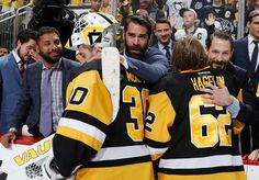 Y 26: Matt Murray #30 of the Pittsburgh Penguins celebrates with Pascal Dupuis #9 after a 2-1 win over the Tampa Bay Lightning in Game Seven of the Eastern Conference Final during the 2016 NHL Stanley Cup Playoffs at Consol Energy Center on May 26, 2016 in Pittsburgh, Pennsylvania. (Photo by Gregory Shamus/NHLI via Getty Images)
