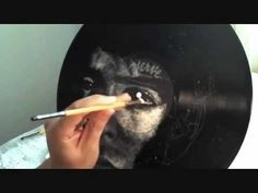 Vinyl Art by Daniel Edlen - A Painting:  Painting with white acrylic on vinyl records