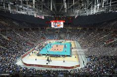 General view on volleyball court at Krakow Arena during the FIVB World Championships match between Italy and USA at Cracow Arena on September 7, 2014 in Krakow, Poland.