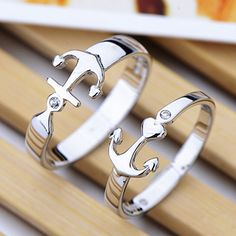 Idea Birthday Gift for Girlfriend 'Sterling Silver Anchor Couple Rings'