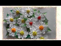 Ромашка Канзаши Мастер Класс / DIY Kanzashi - YouTube Diy Lace Ribbon Flowers, Kanzashi Flowers, Satin Flowers, Fabric Ribbon, Fabric Flowers, Ribbon Crafts, Flower Crafts, Ribon Embroidery, Ribbon Sculpture