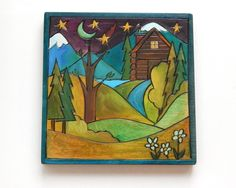 "Sticks Furniture 7 x7"" hand wood burned and painted plaque.  Just a beautiful scene!  Available at Good Goods in Saugatuck Michigan. goodgoods.com"