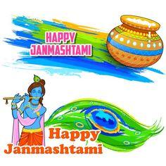 Happy Janmashtami banner — Stock Illustration