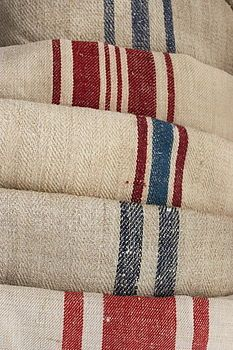 <3 Grain Sacks. Stencil stripe pattern on drop cloth curtains. for back of kitchen door