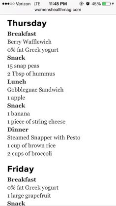 A Weekly Meal Plan To Lose Weight!!!!