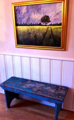 Dining room ~ chippy turquoise bench under Sandi Parker oil painting