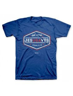 Small - 2X Christian Men's & Teen's Blue Jesus Saves T-Shirt - JTbliss