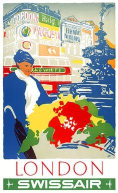 Swissair to London ~ Henri Ott Vintage Advertisements, Vintage Ads, Vintage Airline, Airline Travel, Air Travel, Pub, Vintage London, Advertising Poster, Vintage Travel Posters