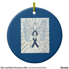 Blue and Black Awareness Ribbon Custom Ornaments is for Concern of Police Survivors (COPS) - Support Law Enforcement