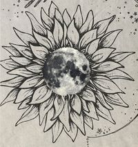 """""""Moon Flower"""" A sunflower with a moon inside. For the polar opposites."""