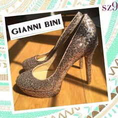 "NEW! Gold sequin high heels by Gianni Bini sz 9 Never worn, no box.   Heel is abt 4"" Gianni Bini Shoes Heels"