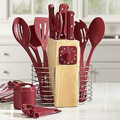 25-piece Cutlery & Utensil Set $34.95 includes- chef knife, bread knife, carving knife, boning knife, utility knife, paring knife, fork and kitchen shears. solid and slotted serving spoons, pasta fork, spatula, ladle, 5 measuring cups, 5 measuring spoon. built in timer.