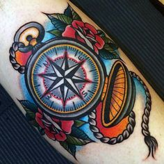 Beautiful Traditional Compass Tattoo For Men Forearms