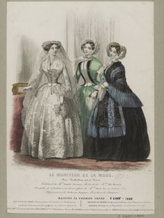 Hand-coloured engraving by Jules David featuring wedding and day dress designs by Popelin-Ducarre and Plé-Horain. Published in Le Moniteur de la Mode, 1850s Fashion, Victorian Fashion, Vintage Fashion, Historical Costume, Historical Clothing, Historical Dress, Jean Délavé, Laura Lee, 19th Century Fashion