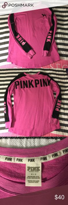 Victoria's Secret Pink Crew From 2014 EUC only worn a few times! The color is more like a purple pink with black detail! PINK written on the bottom of sleeves and on the back! Tag says small but definatly can fit small, medium, or large comfortably! 🎀Enjoy🎀 PINK Victoria's Secret Tops Tees - Long Sleeve