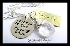 Love you To The Moon and Back - Hand Stamped Necklace - Sterling Silver - Mom mommy - Quartz - Kisse