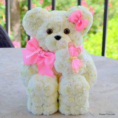 This FlowerToy® Darling Teddy Bear is made with the freshest flowers.