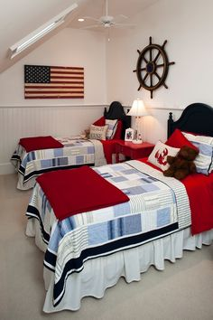 Patriotic kids room, Red, White and Blue, Maine inspiration...
