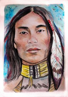 American native  watercolor portrait hand painted