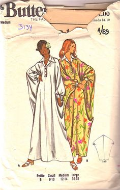 Butterick 3134 1970s Misses Pointed Collar Cuffed Dolman Sleeve Caftan womens vintage sewing pattern by mbchills