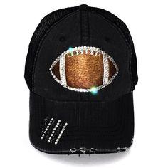 9f3e89dcd Football Mom Hat Football Bling Hat Rhinestone Football Hat Football Team  Mom Football Fan Gear Foot