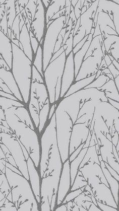 Shimmer Tree Wallpaper Soft Grey, Silver
