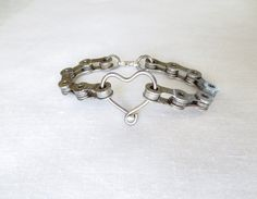 Bicycle Chain and Spoke Heart Bracelet by Winterwomandesigns