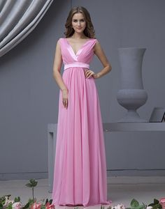 >> Click to Buy << 2016 New Hot Sale Sexy V Neck Ruched Chiffon Floor Length Peach Bridesmaid Dresses Long #Affiliate