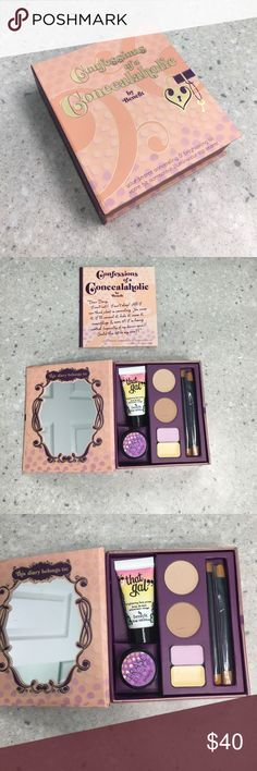 Benefit Confessions Of A Concealaholic Makeup Kit Limited Edition! Brand new, never used. Benefit Confessions Of A Concealaholic Makeup Kit. Includes two brushes and step-by-step Makeup guide booklet. Products in kit are That Gal brightening face primer, Erase Paste (No. 2 Medium), Boi-ing 01/ Boi-ing 02 concealer, Lemon Aid color correcting eyelid primer, Eye Bright instant eye brightener. Very beautiful makeup kit! Benefit Makeup Concealer