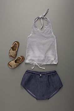 sailor stripe halter + cutest denim bloomers ever - from flora and henri