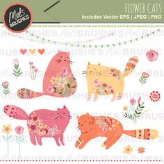 Flower Cats Clipart - set of fat cats covered in flowers.  Great for your craft and creative designs.