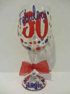 Birthday personalized wine glass fabulous 50  by DottedDesigns