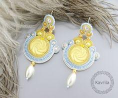 K Avril - Jewellery author. soutache Pontenilla Yellow Earrings. earring length 8.2cm