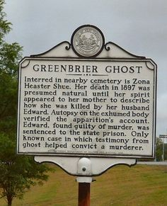 West Virginia historical marker concerning the Greenbrier Ghost. The marker is located near the cemetery in which Zona Shue, a murder victim, is buried