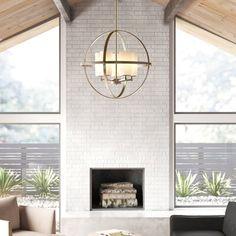 Two Story Fireplace, White Fireplace, Fireplace Ideas, Fireplace Between Windows, Brick Fireplace Remodel, White Brick Fireplaces, Midcentury Modern Fireplace, Tiled Fireplace Wall, Brick Fireplace Decor
