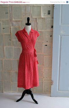 SALE Vintage 1970s Dress 70s Red Wraparound by SassySisterVintage, $38.40