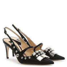 cd5409d704d13e The  SR 175  Black Leather Jewelled Sling Backs from Sergio Rossi are the  perfect