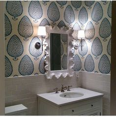 Katie ridder wall paper in bathroom, Anna Burke Interiors