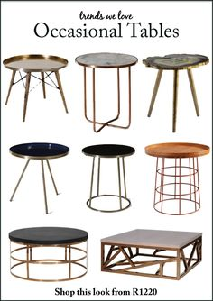 We are loving the latest trend in occasional side tables and coffee tables, gone are the days of plain colours and shapes. Shop these amazing looks only from Vintage Vista.  #occasionaltables  #trendswelove  #vintagevista