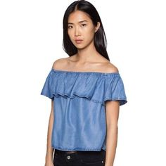 baafa8c96d6d Summer Sexy Off Shoulder Top Womens Blouse Sleeve Ruffle Jean Denim Shirt  Ladie Cropped Crop Tops Blue Casual Top Solid