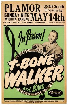 - T-Bone Walker, Rock n Roll Concert Poster Art Print) Jazz Poster, Blue Poster, Rock Posters, Band Posters, Event Posters, Billie Holiday, Vintage Concert Posters, Vintage Posters, Retro Posters