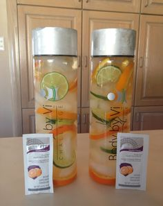 Great delicious Body By Vi Spa Fruit Water with Blood Orange, Limes and ViSalus Orange Defense Mix-In www.juliebaca.com