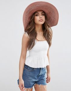 a409369244d ASOS Oversized Straw Hat With Crochet Insert at asos.com