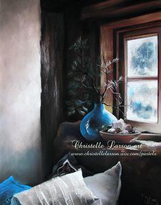 Le vase bleu, pastel sec sur pastel card, format 65 x 50 cm Pastels, Vase, France, Cards, Painting, Painting Art, Paintings, Maps, Vases